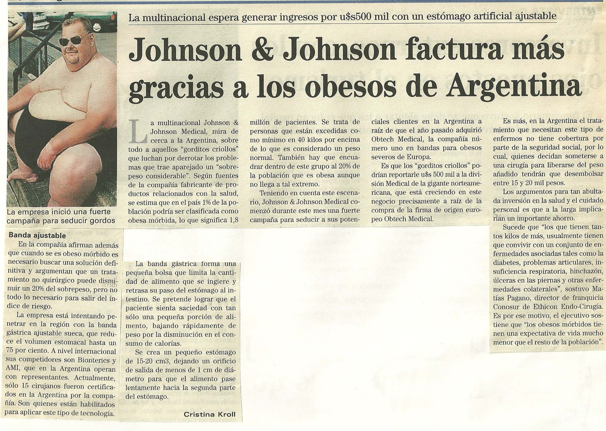 Johnson johnson factura m s gracias a los obesos de for Johnson johnson argentina
