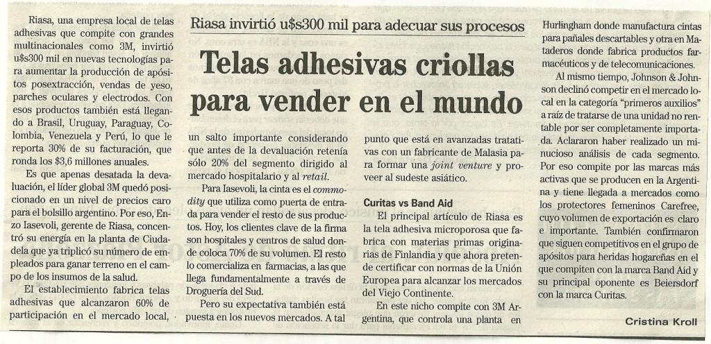 Telas adhesivas criollas para vender en el mundo diario infobae pharmabiz - Telas adhesivas ...